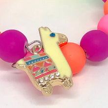Load image into Gallery viewer, A Little Neon Llama Love, Little Girls Wrap Bracelet with Neon Colored Beads. Llama Party Favor. Llama Birthday. Girls Jewelry.