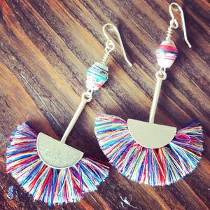 Rainbow Thread Fans + Fair-trade Paper Beads Dangle Boho Earrings.