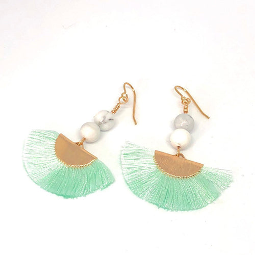Mint Green Silk Fan Earrings, Howlite Earrings, Reduce Anxiety