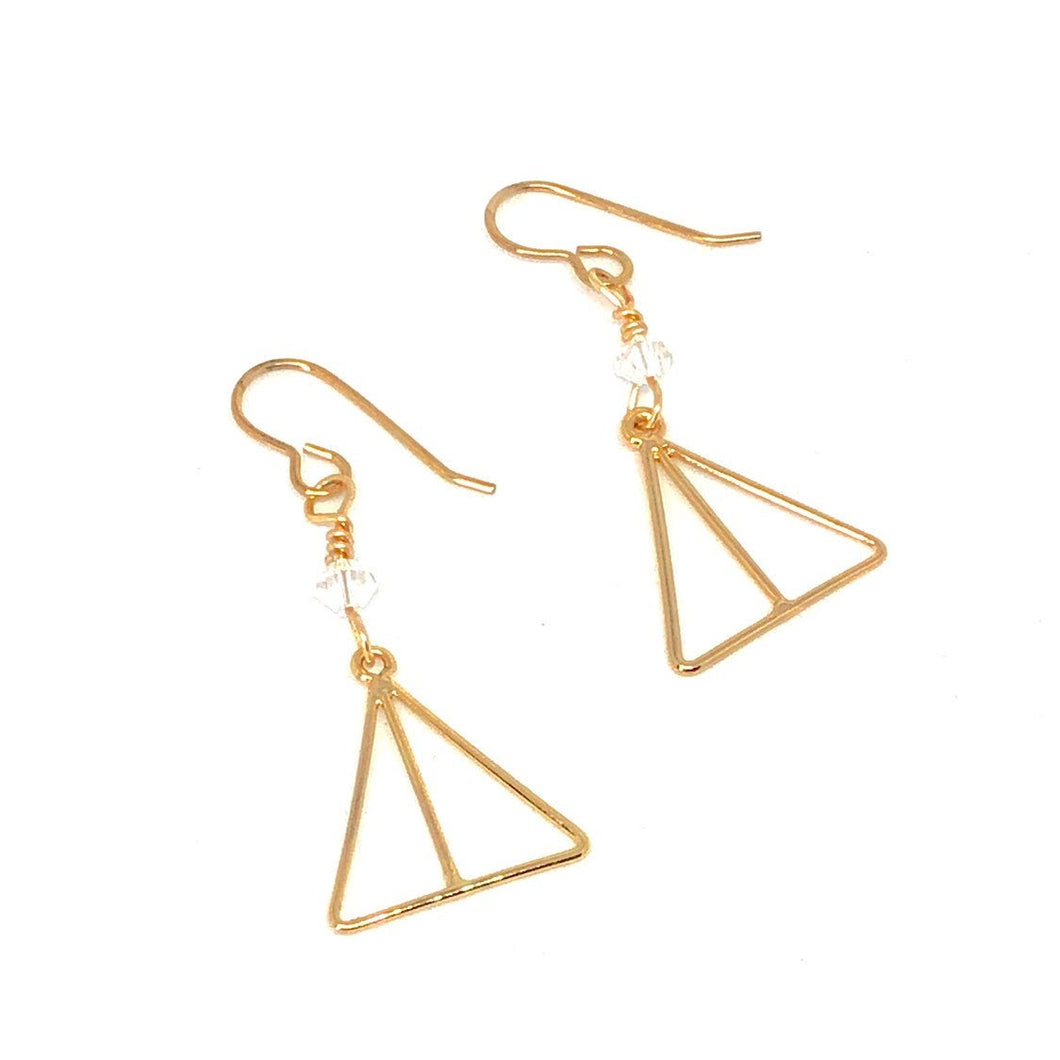 Dainty Minimalist Earrings, Gold Triangles, Swarovski Crystals