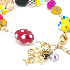 Bee Charm Bracelet, Bee Happy, Swarovski Crystal Bead Bracelet, Glass Lampwork Bead Bracelet, One of a Kind