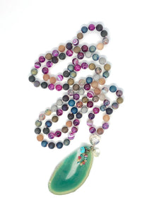 Agate + Lotus Guru Bead 108 Bead Mala Necklace. Yoga Meditation Jewelry.