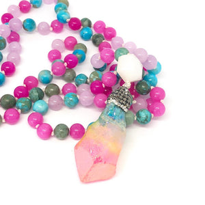 Jade Necklace, Jasper Necklace, 108 Bead Mala, Harmony and Balance, Rainbow Rock Necklace