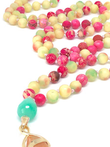 Imperial Jasper, Quartzite, 108 Bead Mala Necklace, Pink and Green Gemstone Necklace