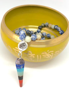 Sodalite + Agate with 7 Chakra Pendant with Lotus Guru Bead. 108 Bead Mala Necklace.