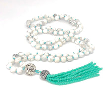 Load image into Gallery viewer, Tassel Necklace, Howlite 108 Bead Mala Necklace, White Necklace, Hand-knotted Necklace