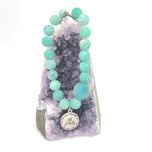 Load image into Gallery viewer, Crackled Agate + 'Live Simply' Charm Bracelet. Transform Negativity. Healing Bracelet.