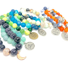 Load image into Gallery viewer, Sandstone Moon Charm Bracelet. Healing Large Bead Bracelet.
