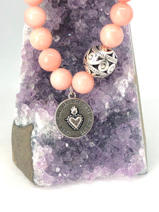 Rose Quartz + 'Most of All, Let Love Guide your Life' Charm Bracelet. Healing Bracelet.