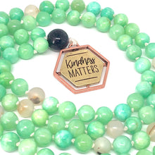 Load image into Gallery viewer, Kindness Matters Green Necklace. 108 Bead Mala Necklace. Quartzite. Marine Agate. Lave Stone.