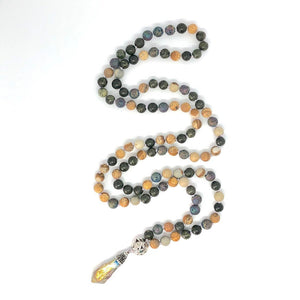 Lava Stone + Jade + Jasper 108 Bead Mala Necklace. Yoga Meditation Jewelry.