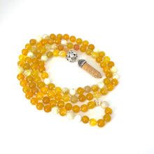 Load image into Gallery viewer, Agate Necklace, Fire Agate, Yellow Agate 108 Bead Mala Necklace, Protective Stone, Calming Energy