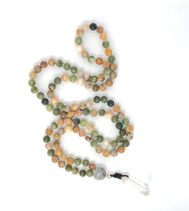 Yellow Howlite + Agate 108 Bead Mala Necklace, Yoga Meditation Jewelry. Gemstone Necklace.