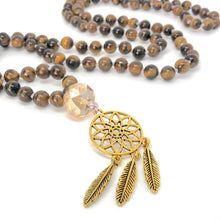 Load image into Gallery viewer, Tiger Eye + Dreamcatcher 108 Bead Mala Necklace. Yoga Meditation Jewelry.