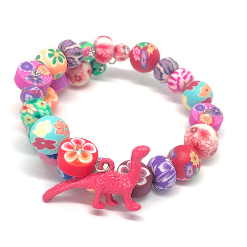 Pink Apatosaurus Dinosaur Little Girls Wrap Bracelet with Clay Floral Beads.