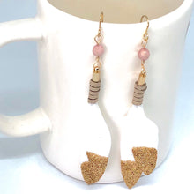 Load image into Gallery viewer, Gold Glitter Dipped White Leather Wrapped Feather Dangle Earrings with Pink Czech Beads.