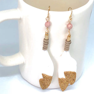 Gold Glitter Dipped White Leather Wrapped Feather Dangle Earrings with Pink Czech Beads.