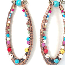 Load image into Gallery viewer, Big Beaded Wrap Earrings. Big Bronze Oval Beaded Wire Wrapped Dangle Earrings.