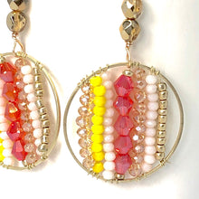 Load image into Gallery viewer, Red Yellow + Gold Circle Beaded Wire Wrapped Dangle Earrings.