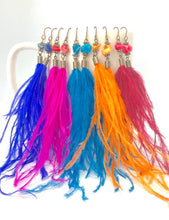 Load image into Gallery viewer, Wispy Hot Pink Feather + Stone Dangle Earrings. Boho Style Earrings. Feather Earrings.