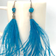 Load image into Gallery viewer, Wispy Teal Feather + Stone Dangle Earrings. Boho Style Earrings. Feather Earrings.