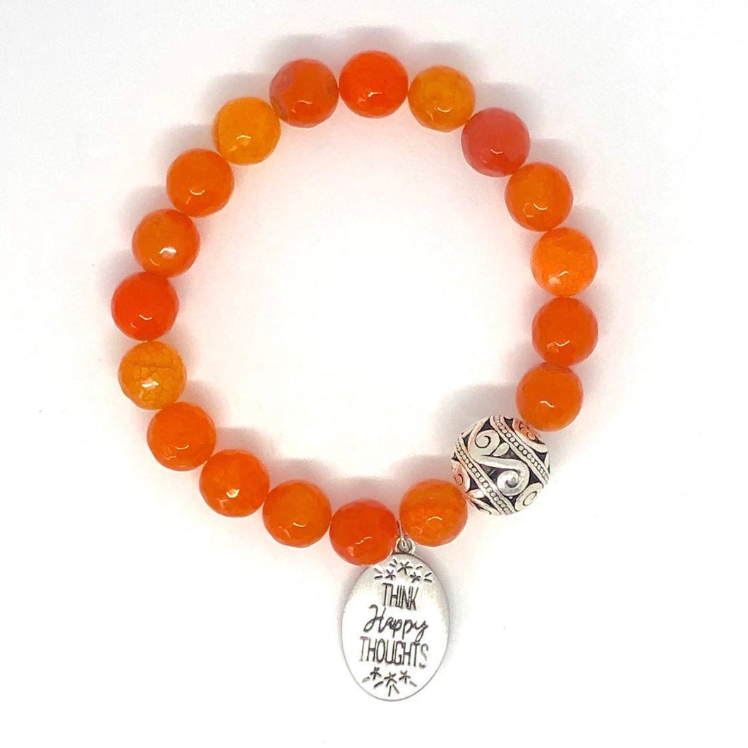 Orange Agate 'Think Happy Thoughts' Mala Charm Bracelet. Healing Bracelet.