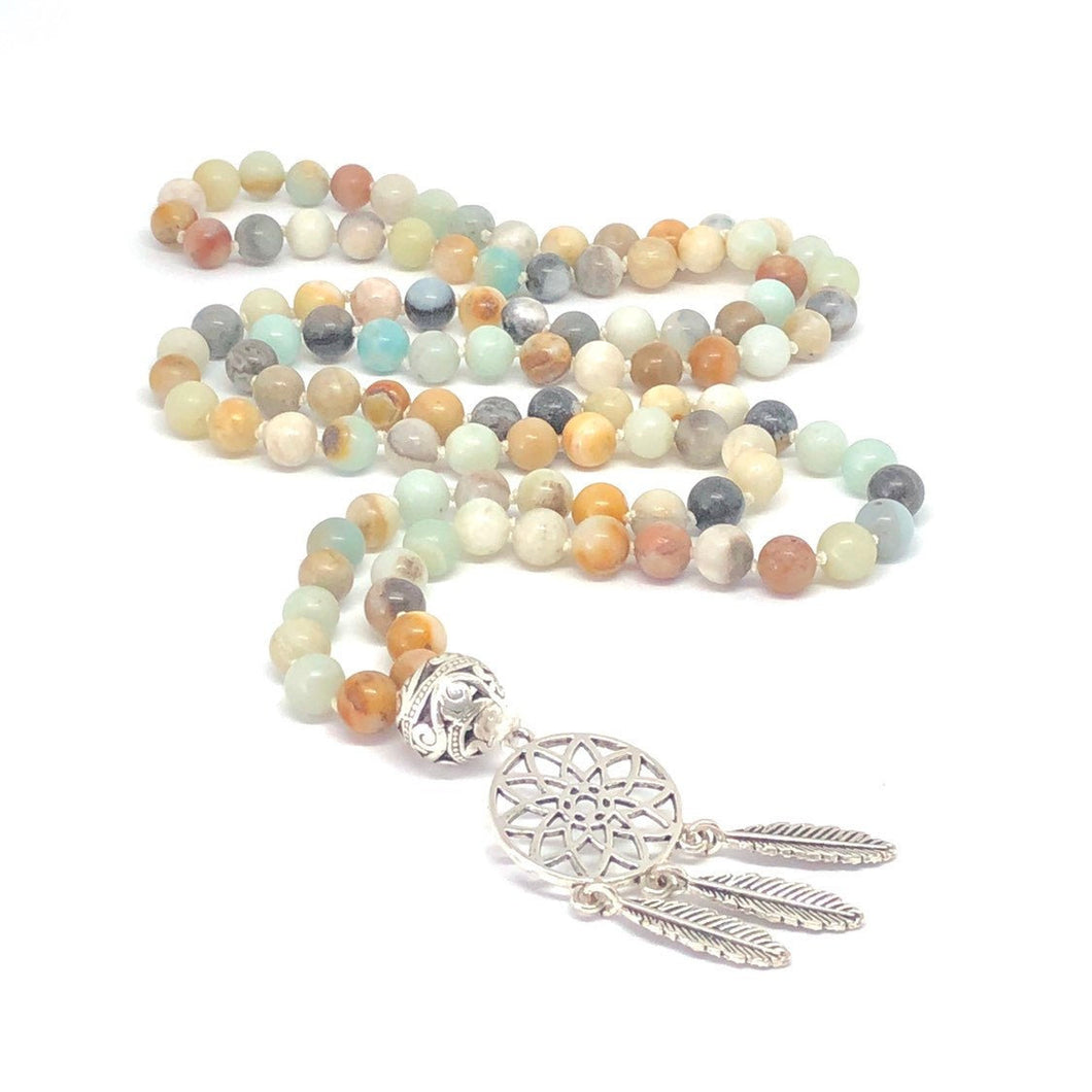 Amazonite + Dreamcatcher 108 Bead Mala Necklace. Yoga Meditation Jewelry.
