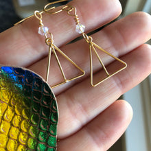 Load image into Gallery viewer, Dainty Minimalist Earrings, Gold Triangles, Swarovski Crystals