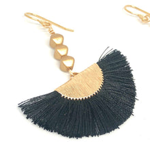Load image into Gallery viewer, Black Thread Fans + Gold Nugget Beads Dangle Boho Earrings