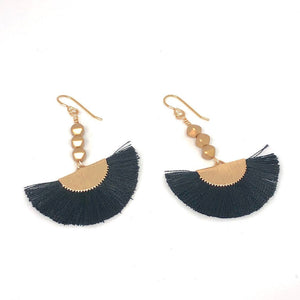 Black Thread Fans + Gold Nugget Beads Dangle Boho Earrings