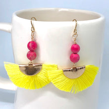 Load image into Gallery viewer, Yellow Thread Fans + Pink Imperial Jasper Gemstone Beads Dangle Boho Earrings, Strong Healing Energy