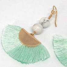 Load image into Gallery viewer, Fan Tassel Earrings. Mint Silk Thread Fans. Howlite Bead Boho Earrings.
