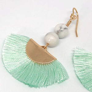 Fan Tassel Earrings. Mint Silk Thread Fans. Howlite Bead Boho Earrings.
