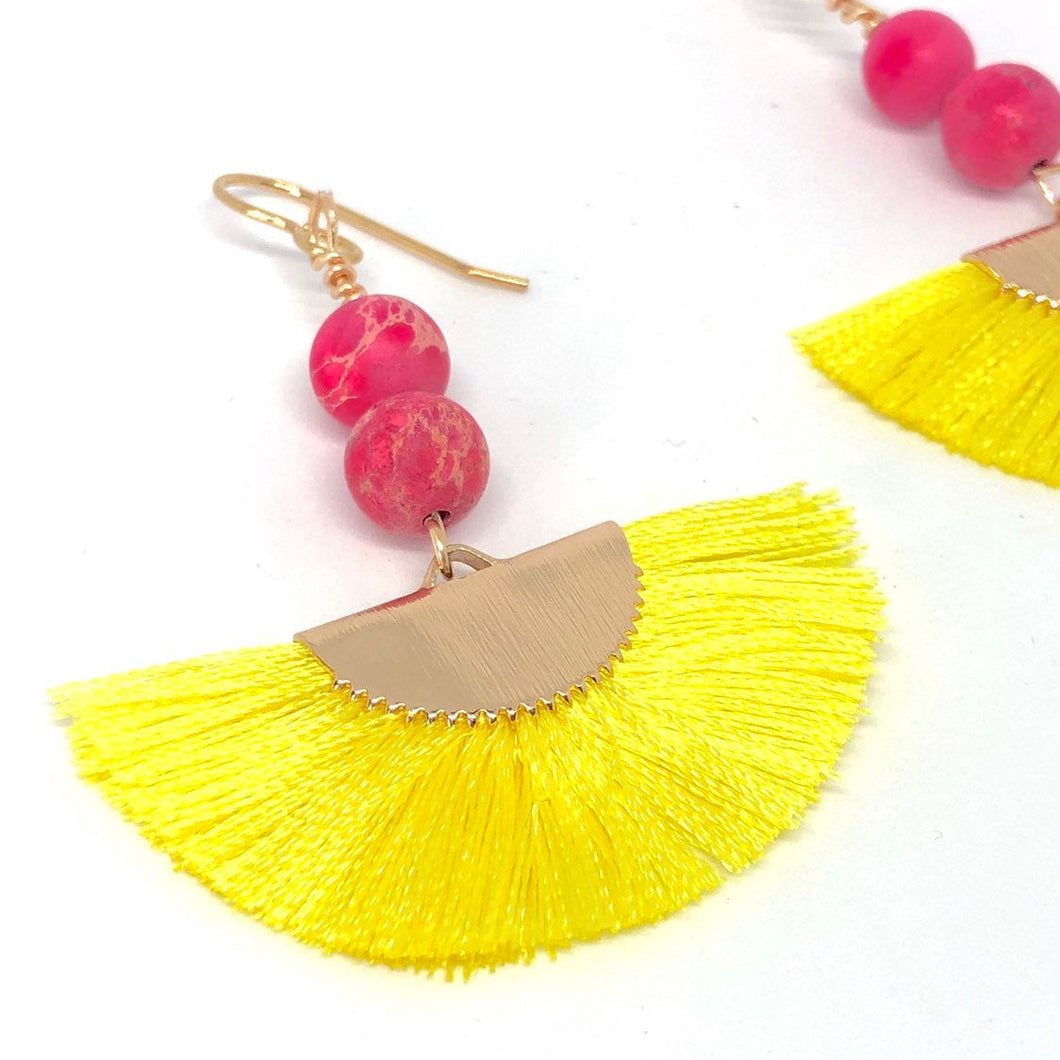 Yellow Thread Fans + Pink Imperial Jasper Gemstone Beads Dangle Boho Earrings, Strong Healing Energy