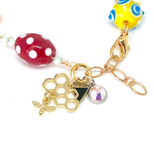 Load image into Gallery viewer, Bee Happy + Hive Swarovski Beaded Charm Bracelet. Boho Swarovski Crystal Bracelet.