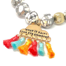 Load image into Gallery viewer, Positive Charm Bracelet. Howlite + 'When it Rains, Look for Rainbows.' Healing Bracelet.