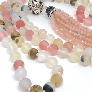 108 Bead Mala Necklace, Cherry Quartz + Marine Agate. Yoga Meditation Jewelry.