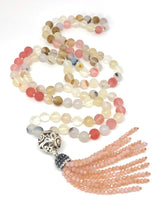 Load image into Gallery viewer, 108 Bead Mala Necklace, Cherry Quartz + Marine Agate. Yoga Meditation Jewelry.