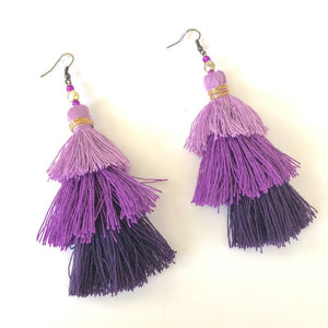 Purple 3-tier Layered Tassel Boho Earrings