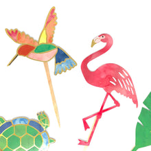 Load image into Gallery viewer, Tropical Pastel Cupcake Toppers & Stickers. Pink Flamingo Birthday Party. Turtle. Hummingbird. Foliage. 12 Cupcake Picks. Stickers pack.