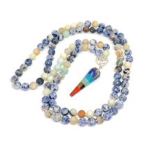 Load image into Gallery viewer, Sodalite + Agate with 7 Chakra Pendant with Lotus Guru Bead. 108 Bead Mala Necklace.