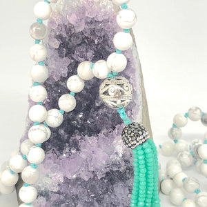 Howlite 108 Bead Mala Necklace. Yoga Meditation Jewelry. Gemstone Necklace. Tassel.