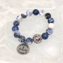 Load image into Gallery viewer, Sodalite + 'Be Awesome' Charm Bracelet. Healing Large Bead Bracelet.