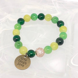 Yellow Jade + 'Live Laugh Love' Charm Bracelet. Healing Large Bead Bracelet. Good Luck.