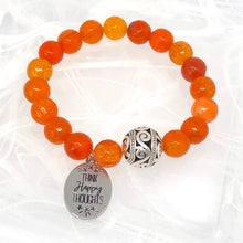 Load image into Gallery viewer, Orange Agate 'Think Happy Thoughts' Mala Charm Bracelet. Healing Bracelet.
