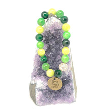 Load image into Gallery viewer, Yellow Jade + 'Live Laugh Love' Charm Bracelet. Healing Large Bead Bracelet. Good Luck.