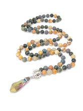 Load image into Gallery viewer, Lava Stone + Jade + Jasper 108 Bead Mala Necklace. Yoga Meditation Jewelry.