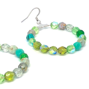 Green Hoop Earrings, Czech Glass Earrings, Boho Style Earrings