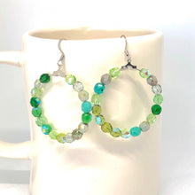 Load image into Gallery viewer, Green Hoop Earrings, Czech Glass Earrings, Boho Style Earrings