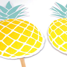 Load image into Gallery viewer, Big Glittery Pineapple Cupcake Toppers. Pineapple Birthday Party. Summer Party Decor. Fruit Cupcakes. Set of 12 Cupcake Decor.